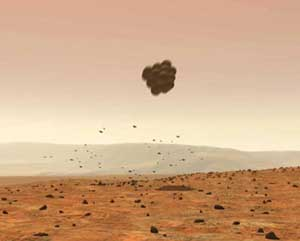 The Mars Exploration Rover bounces down on the Martian surface, protected by airbags. Image credit NASA/JPL.