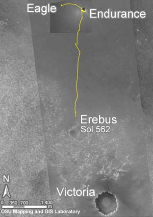 Opportunity - traverse route. Image credit NASA/JPL/OSU.