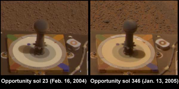 Opportunity, dust comparison. Image credit NASA/JPL.