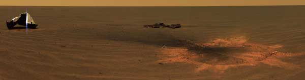 Opportunity, heat shield impact area, color - from the surface. Image credit NASA/JPL.