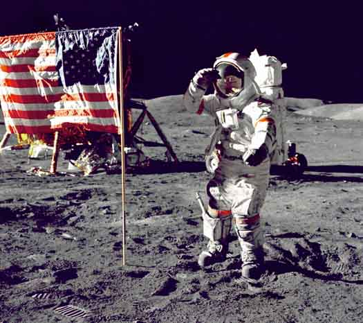 Gene Cernan on the Moon saluting the flag. Image Credit: NASA