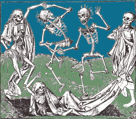 Dancing skeletons.