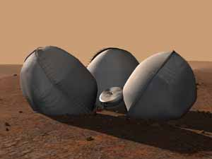 Beagle 2 on Mars with its inflated air bags.  All Rights Reserved Beagle 2.