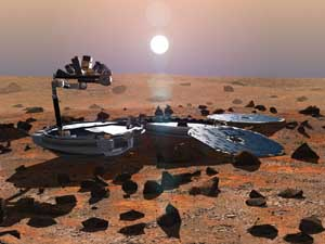 Beagle 2 on Mars with its solar panels and scientific instruments deployed.  All Rights Reserved Beagle 2.