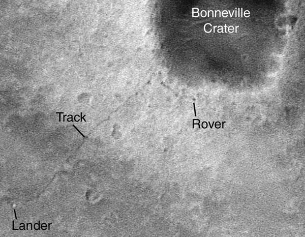Spirit rover and tracks as seen from orbit.  Image credit NASA/JPL/Malin Space Science Systems.
