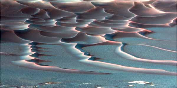 Dunes in Endurance Crater. {False Color} Image credit NASA/JPL.
