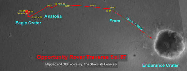 The traverse route for the Opportunity rover. Image credit NASA/JPL and Ohio State University.