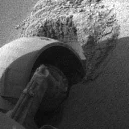 Opportunity - a wheel stuck in the sand. Image credit NASA/JPL.