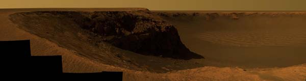 Part of Victoria Crater as seen by the Opportunity rover. Image credit NASA/JPL.