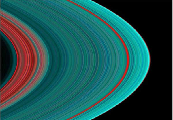 Saturn, rings in false color.  Image credit NASA/JPL.