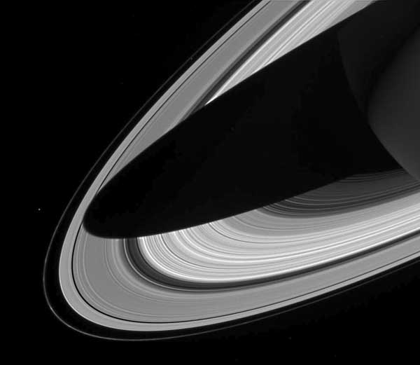 Saturn rings, black and white.  Image credit NASA/JPL.