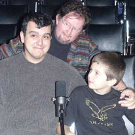 Sean Branney, Andrew Leman and Aidan Branney at the Hour 25 taping. Copyright ©2003 by Suzanne Gibson