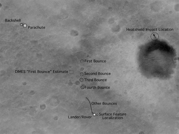 An image of the landing site for the Mars Exploration Rover Spirit as seen from orbit.  Image credit NASA/JPL.