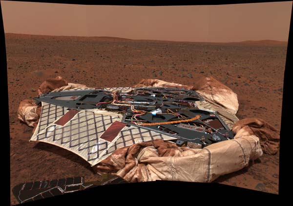 A picture of the Landing Stage that delivered the Spirit Rover to Mars. Image credit NASA/JPL.
