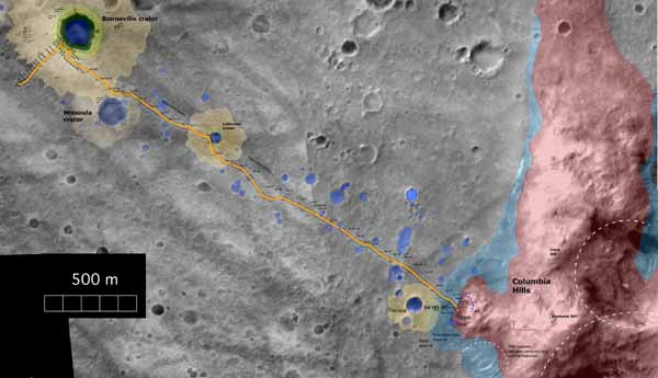 Spirit's traverse route  Image credit NASA/JPL.
