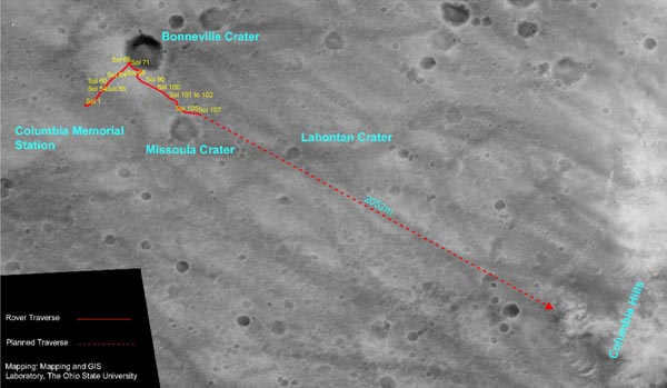 The traverse route for Spirit.   Image credit NASA/JPL and Ohio State University.