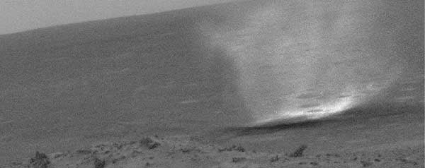 Spirit, dust devil.  Image credit NASA/JPL.