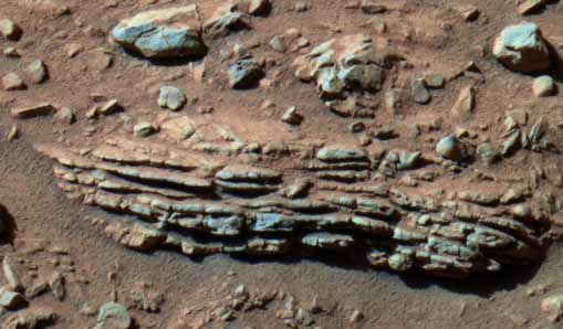 A layered rock.  Image credit NASA/JPL.