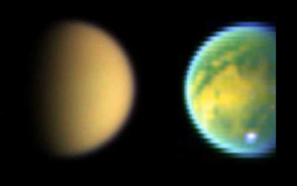 Titan as seen in visible and IR.  Image credit NASA/JPL.